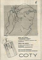 COTY EAU DE COTY TALC RITAGLIO DI GIORNALE 1952 - Vecchi Documenti