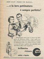 BRILLANTINA RICINATA GIBBS RITAGLIO DI GIORNALE 1952 - Vecchi Documenti