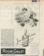 ROGER & GALLET ACQUA DI COLONIA RITAGLIO DI GIORNALE 1952 - Vecchi Documenti