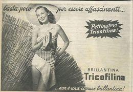 BRILLANTINA TRICOFILINA RITAGLIO DI GIORNALE 1952 - Vecchi Documenti