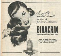BINACRIN SHAMPOO NEUTRO CON LUCEFIX RITAGLIO DI GIORNALE 1952 - Vecchi Documenti