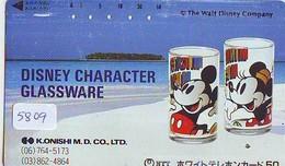 Télécarte Japon * 110-011 * DISNEY (5809)  Character Goods Fair 91 GLASSWARE  * Japan Phonecard Telefonkarte - Disney
