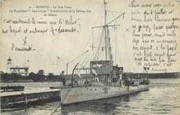 """BIZERTE - La Baie Ponty, Le Torpilleur """"Bourrasque"""" Divisionnaire De La Défense Fixe De Bizerte. - Guerre"""