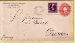 AMERICA - USA - STATI UNITI  NEW YORK 1902  - STORIA POSTALE - BUSTA VIAGGIATA PER DRESDEN GERMANIA - Marcophilie