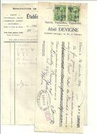 WASMES  ETABLISSEMENT   ABEL DEVIGNE  Manufacture De Chaussures Economiques   23.12.1929  Fact   + Recu - Sports & Tourisme