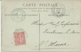 CARTE POSTALE 1905 AVEC CACHET BLEU EL KANTARA CONSTANTINE SUR TIMBRE SEMEUSE - Cachets Manuels