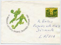 LITHUANIA 1991 Lithuanian World Games Stationery Envelope, Used To Latvia.  Michel U14 - Lithuania