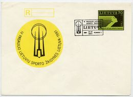 LITHUANIA 1991 Lithuanian World Games Registration Stationery Envelope, Cancelled.  Michel EU2 - Lithuania
