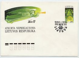 LITHUANIA 1991 Independence Anniversary Stationery Envelope, Cancelled.  Michel U13 - Lithuania
