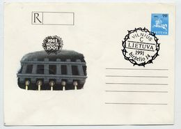 LITHUANIA 1991  Anniversary Of Deportations Registration Stationery Envelope, Cancelled.  Michel EU1 - Lithuania