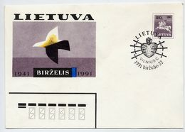 LITHUANIA 1991  Anniversary Of Rising Against The Soviet Union Stationery Envelope, Cancelled.  Michel U11 - Lithuania