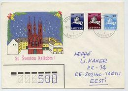 LITHUANIA 1990 Christmas Stationery Envelope, Used To Estonia.  Michel U8 - Lithuania