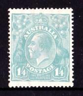 Australia 1920 King George V 1/4d Greenish-Blue Single Crown Watermark MH - 1913-36 George V: Heads
