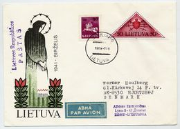 LITHUANIA 1991 Airmail Cover, Used To Denmark.  Michel 478, 481 - Lithuania