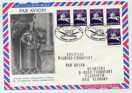 LITHUANIA 1992 First Flight Cover Viknius-Frankfurt.  Michel 468 X 5 - Lithuania