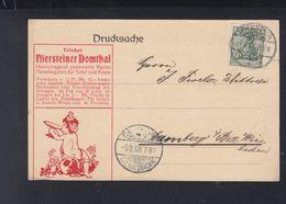 Dt. Reich PK 1908 Niersteiner Domthal Lochung Perfin - Deutschland