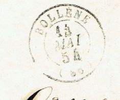 VAUCLUSE 84 BOLLENE LAC TAD Type 15 Du 14/05/1854 Taxe 25 DT TTB - Marcophilie (Lettres)