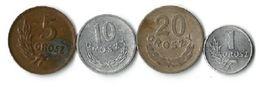 Lot 4 Pièces De Monnaie  1 - 5 - 10 Et  20 Grosz - Pologne