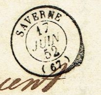 BAS RHIN 67 SAVERNE LAC TAD Type 15 Du 17/06/1852 Taxe 25 DT SUP - Postmark Collection (Covers)