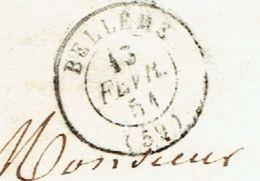 ORNE 61 BELLEME LAC TAD Type 15 Du 13/02/1851 Taxe 25 DT TTB - Storia Postale