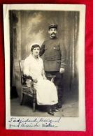 Cpa CARTE PHOTO MILITARIA GUERRE1914 POILU BLESSE INFIRMIERE CROIX ROUGE ADJUDANT ROSSIGNOL Du 63e REGIMENT INFANTERIE - Guerra 1914-18