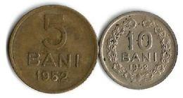 Lot 2 Pièces De Monnaie 5 Et 10 Bani  1952 - Roumanie