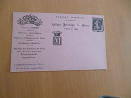 Carte Postale Publicitaire Entier Cabinet D'Hozier Collège Héraldique TBE - Publicités