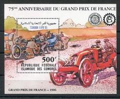 RC 6821 COMORES BF 43 - AUTOMOBILE GRAND PRIX DE FRANCE 1906 SURCHARGÉ BLOC FEUILLET NEUF ** TB - Comores (1975-...)