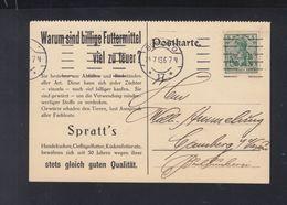 Dt. Reich PK 1913 Spratt`s Hundekuchen Lochung Perfin - Briefe U. Dokumente