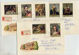 HUNGARY 1968 Spanish Paintings  Set On Three Registered Covers.  Michel 2409-15 - Hungary