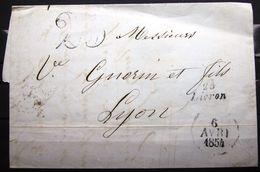 Cursive 25 LIVRON + DATEUR A  --  DROME  --  1854  --  Indice 8 - 1849-1876: Période Classique