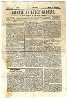 JOURNAL DE LOT ET GARONNE N° 255   1849  MARDI 25 OCTOBRE -  4  PAGES - Journaux - Quotidiens