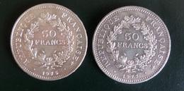 France Deux Pièces Argent 50 Francs 1975 Et 1977. Bon état. B/TB. A Saisir! - France