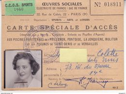 Au Plus Rapide Carte Accès Piscine Paris Pailleron Molitor Versailles ... Agent Electricité Gaz De France 1960 - Autres