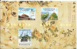 BFsan Marino** , 50 Ans De La République Populaire De Chine, Grande Muraille - Blocs-feuillets