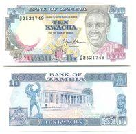 Zambia 10 Kwacha 1989-91 Pick 31.b UNC - Zambia