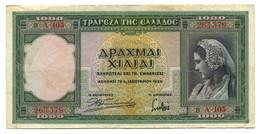 1939 Greece 1000 Drachmas Banknote - Greece