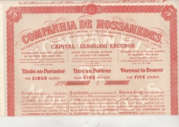 COMPAGNIE DE MOSSAMEDES (BRESIL) TITRE DE CINQ ACTIONS - 1901 - Actions & Titres