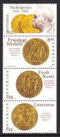 Sweden 2001 MNH Scott #2415 Strip Of 4 8k Alfred Nobel, Prize Medals Joint With USA - Emissions Communes