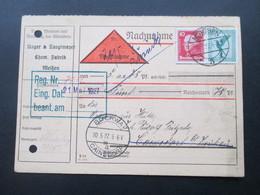 DR 1927 MiF Nr. 378 / 390 Flugpost / Köpfe MiF. Nachnahme Karte. Vermerk Zurück! Bockwa - Cainsdorf - Briefe U. Dokumente