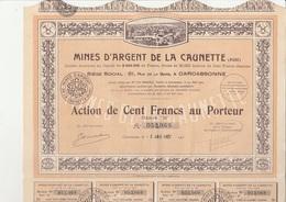 ACTION 100 FRANCS - MINES D'ARGENT DE LA CAUNETTE (AUDE) -ANNEE 1927 - Mines