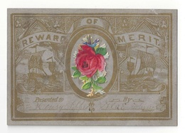 Victorian Reward Of Merit To Henry Sipple Sailing Ships Diecut Rose Add On 3.75 X 2.5 - Old Paper