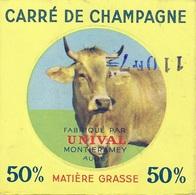 """étiquette Fromage  Carré De Champagne Fabriqué Par Unival Montieramey Aube 10 """"vache"""" - Fromage"""