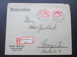 DR 1928 Flugpostmarken Nr. 379 / 381 MiF Einschreiben Braunschweig 1 392 O. Walter Behrens - Briefe U. Dokumente