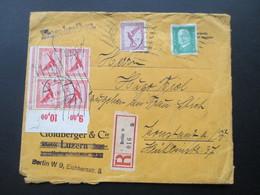 DR 1929 Flugpostmarken Nr. 379 Als 4er Oberrandblock!! MiF Nr. A 379 Und 411. Einschreiben Berlin 9 016 A - Briefe U. Dokumente