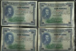 4 Billets De 100 Pesetas 1925 Bon Etat - [ 1] …-1931 : First Banknotes (Banco De España)