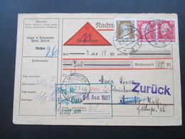 DR 1927 Freimarken MiF Nachnahmekarte Meissen - Münster Westfalen. Zurück! - Briefe U. Dokumente