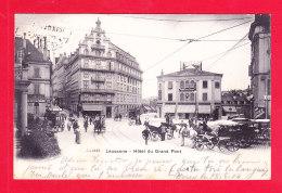 E-Suisse-813Ph83 LAUSANNE, Hôtel Du Grand Pont, Attelages, Cpa Précurseur BE - VD Vaud