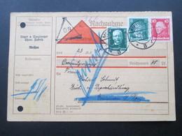DR 1928 Freimarken U. Deutsche Nothilfe MiF Nachnahmekarte Meißen Chemische Fabrik. Nachgebühr?! Zurück - Briefe U. Dokumente
