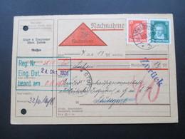 DR 1928 Freimarken Köpfe MiF Nachnahmekarte Meißen Chemische Fabrik. Zurück! - Briefe U. Dokumente